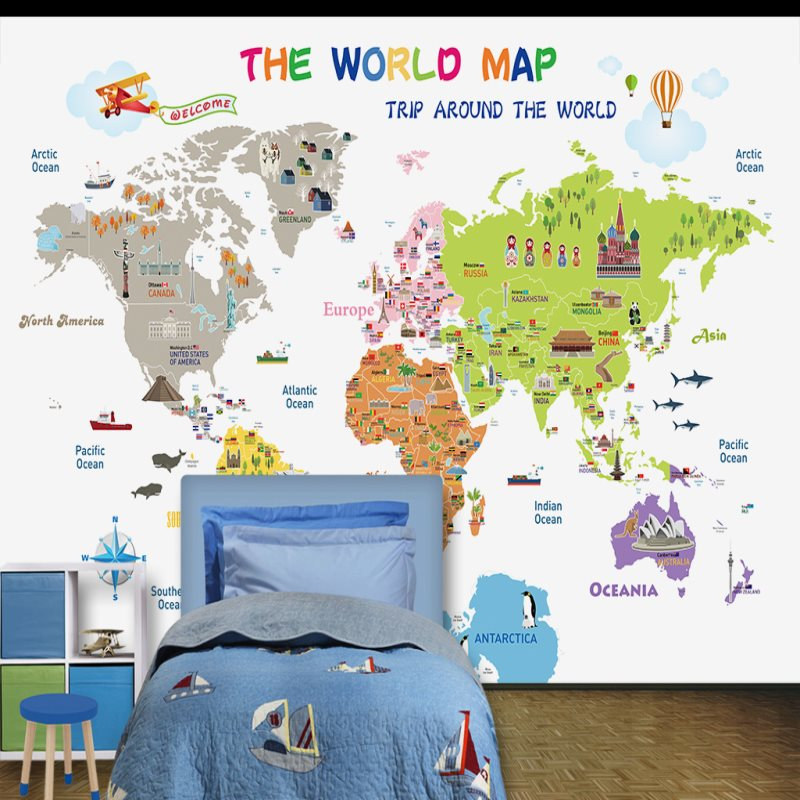Large custom mural wallpaper bedroom childrens room background large custom mural wallpaper bedroom childrens room background wall paper cartoon world map wallpaper in wallpapers from home improvement on aliexpress gumiabroncs Choice Image