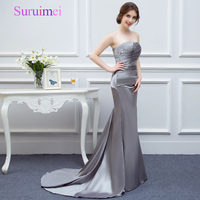 Mermaid Long Evening Dresses 2016 Sexy Off The Shoulder Gray Color Satin Evening Dress Formal Evening