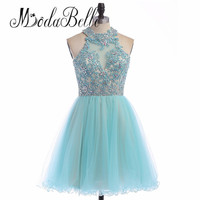 Modabelle Sweet Sixteen Short Lace Beads Tulle Homecoming Dresses Backless Sleeveless Rhinestones Aqua Blue Prom Dress