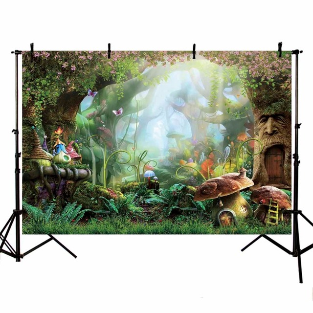 Fairy Tale Forest Photography Backdrops Children Backgrounds Photo Studio Mushrooms Elves Flowers Photo Background LV-077
