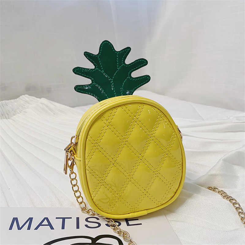 2019 Fashion Kids Children Girl Pineapple Bags Small Cross Body Bags Baby Girl Chain Belt PU Bags for All Seasons