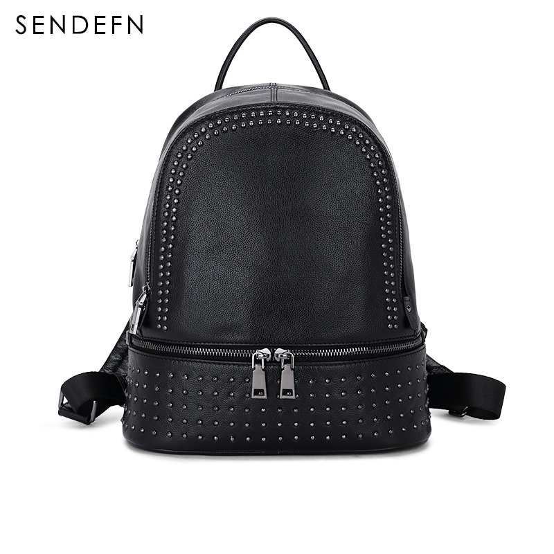 все цены на Sendefn Genuine Leather Backpack Large Capacity Rivet Black Shoulder Bag Women Casual Backpack Teenage Girls School Travel Bags