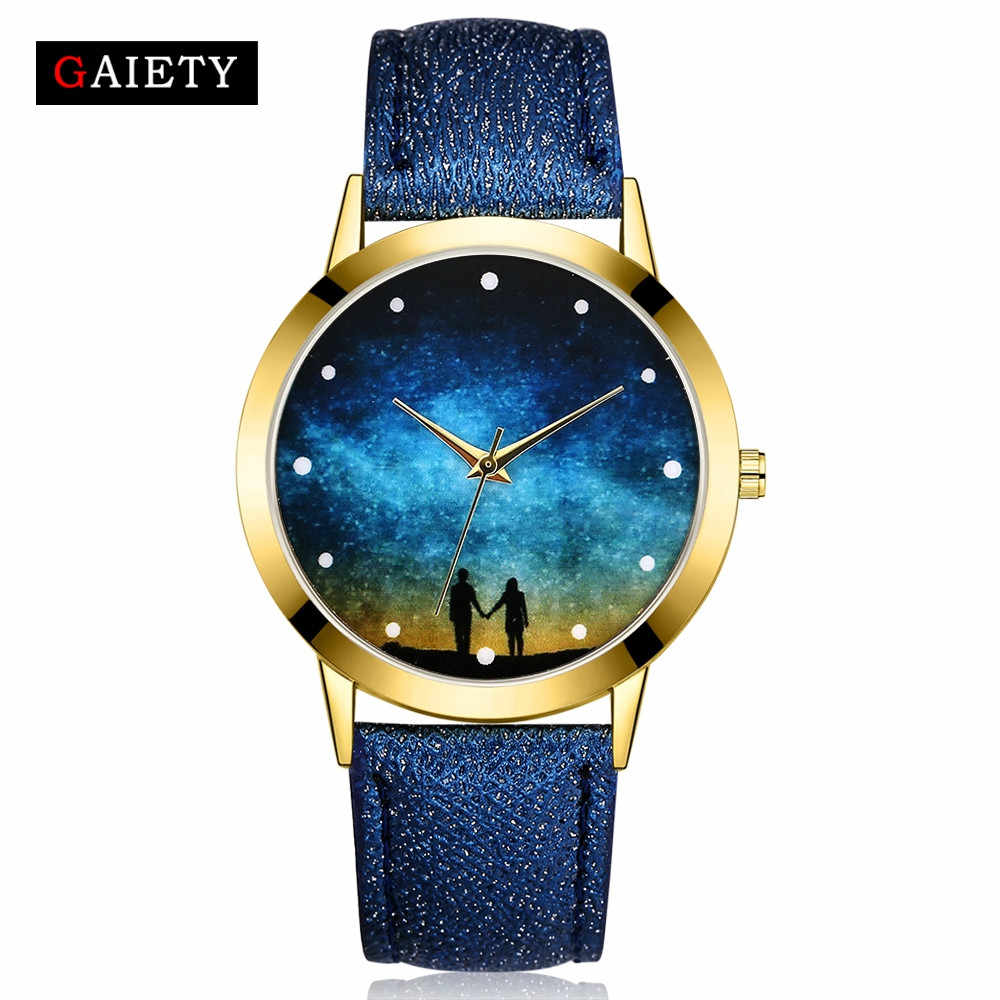 Alta calidad 2018 nuevos relojes creativos para mujeres moda cielo estrellado correa de cuero cuarzo analógico reloj de pulsera reloj redondo reloj