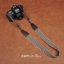 Cam8770 البني منقوشة نمط نسيج القطن الرقمية SLR شريط كاميرا لسوني نيكون