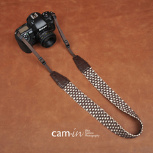 Cam8770 brown plaid style cotton woven digital SLR camera strap for Sony Nikon