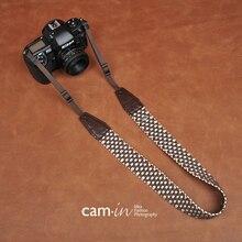 Cam8770 kahverengi ekose tarzı pamuk dokuma dijital SLR kamera askısı Sony Nikon