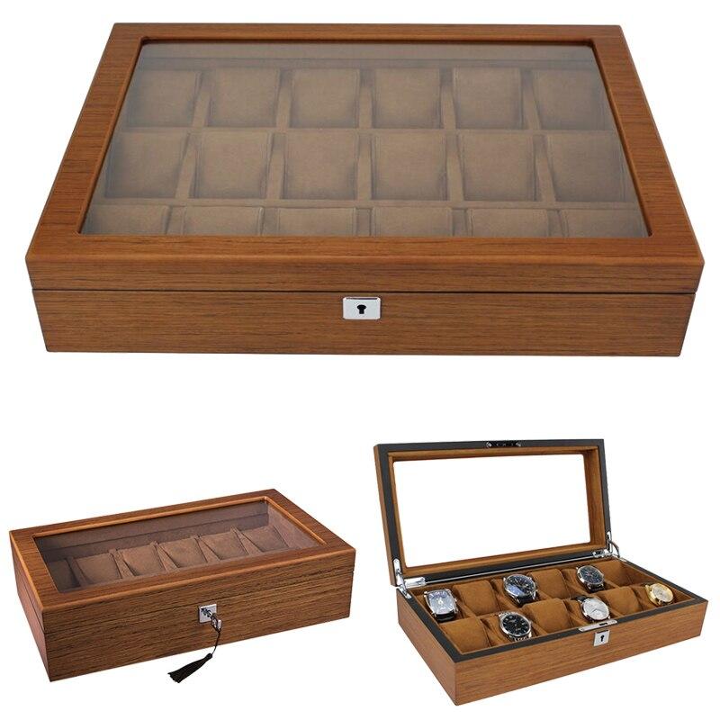 Luxury 10,12,18 Slots Handmade Wood Watch Box Wood Clock Box Watch Case Time Box For Watch Holding