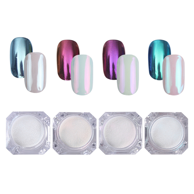 4 Boxes Mirror Nail Glitter Powder