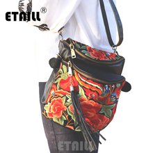 ETAILL New Genuine Leather Embroidery Bucket Bags with Tassel Small Chinese Hmong Flower Thailand Embroidered Shoulder