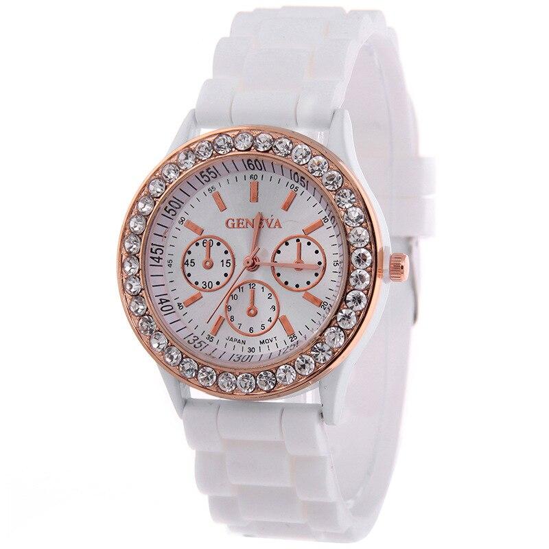 aa5eb40194c Venda quente Genebra marca Silicone watch mulheres senhoras vestido de  cristal de quartzo relógios de pulso