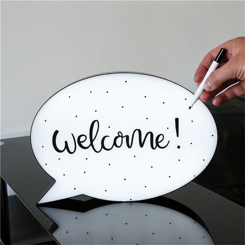 LED Hand-written Board Message Box Cloud Q-elliptical Gift Luminous Courtship Props