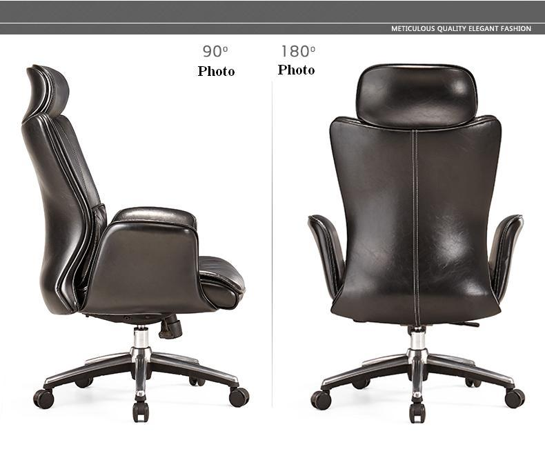 Фото boss office chair black brown color genuine leather free shipping
