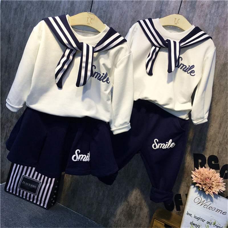 Family Matching Outfits Brother Sister Clothes Kids Clothing Sets School Girls sport suit for boy navy Style two pieces set Suit