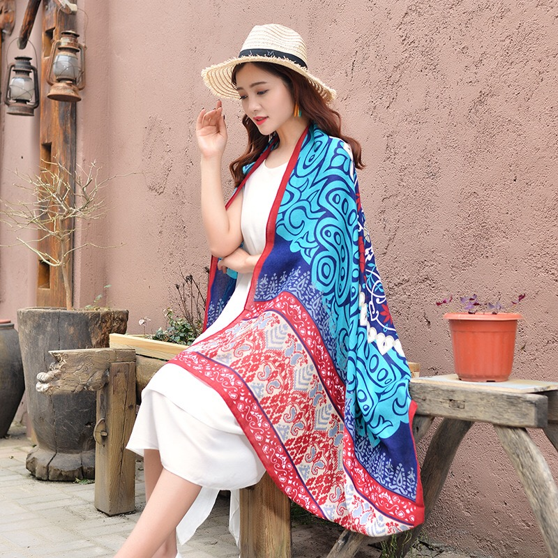 Spring And Summer New Printing Casual Scarf Shawl Dual-use Long Scarf Sea Resort Sunscreen Towel Silk Towel Beach Towel