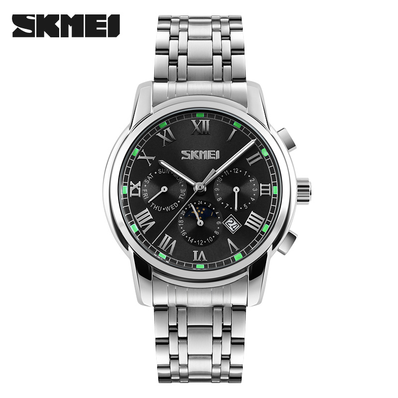 Top Luxury Brand SKMEI Men Sports Watches Men's Full Steel Date Clock Man Quartz Watch Military Wrist Watch Relogio Masculino ybotti luxury brand men stainless steel gold watch men s quartz clock man sports fashion dress wrist watches relogio masculino