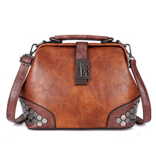 Luxury Bags For Women Leather Doctor Bag Shoulder Bag Lock Chain Rivet Ladies Clutch Bag Vintage Female Handbag Girl Crossbody famous brand solid crossbody bag chain genuine leather small bag ladies handbag single shoulder bag simple clip lock clutch bag