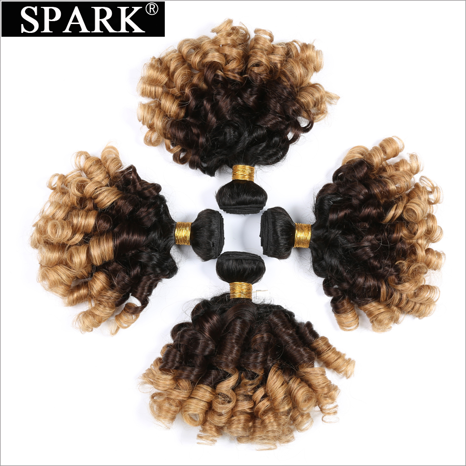 "Spark 1B / 4/27 Ombre Peruvian Bouncy Curly Hair Bundles Tre Tone Remy Human Hair Weave 4 Bundle tilbud 8 ""-26"" Hair Extensions"