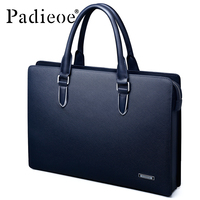Padieoe Men S Briefcase Genuine Leather Totes Bag For Documents Leather Men S Shoulder Bag Male