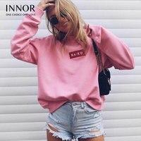 INNOR Hot Moda Damska Lato Jesień Biały Różowy Crop Tops Casual Loose Cotton T Shirt Z Długim Rękawem Wokół Szyi
