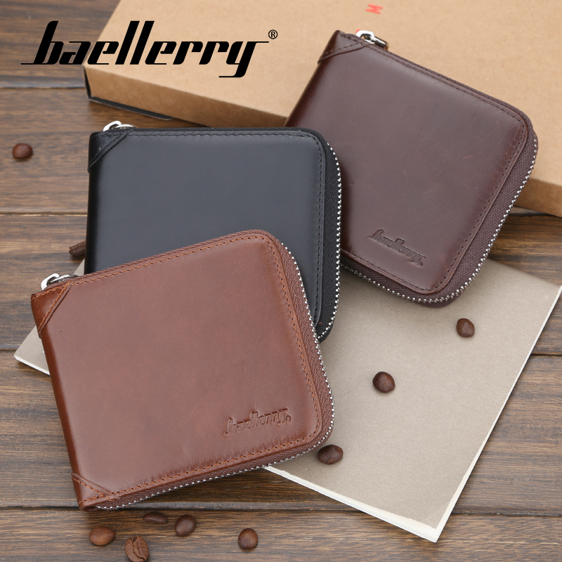 Baellerry Men Solid Genuine Leather Wallet 3 Color Zipper Portal Wallet Coin Pocket Card Holder Photo Holder Vintage Men Wallet in Wallets from Luggage Bags
