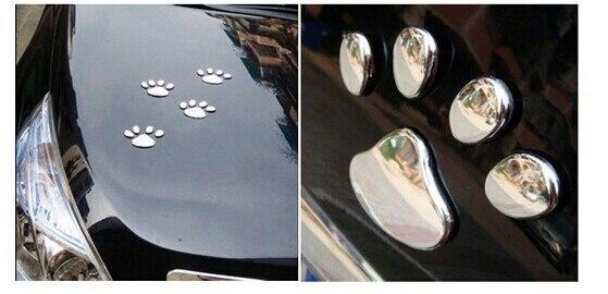 2 pairs/lot Car Sticker 3D Dog Bear paw prints Chrome Badge Emblem ...