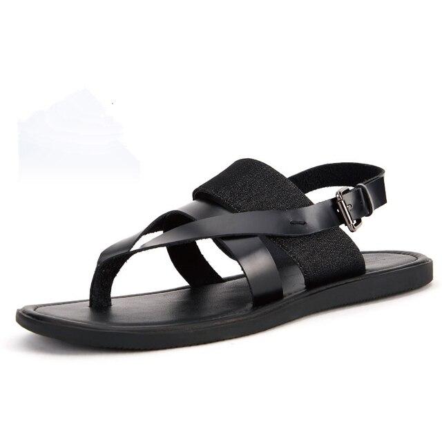 Мужчины Натуральная Кожа Повседневная Ремни Римского Стиля Т-Ремень Флип-Флоп Пляжные Сандалии Летние Сандалии Гладиаторов Обувь