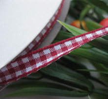 2/8″ 6mm tartan plaid ribbon bows appliques craft/sewing/doll wine red 50Yard