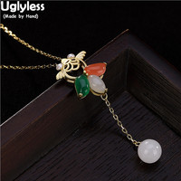 Uglyless 100% Real 925 Sterling Silver Goldfish Necklaces for Women Jade Ball Tassel Pendants Fine Jewelry Cute Fish Bijoux Gems
