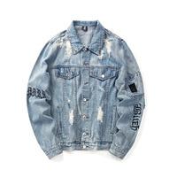 New men's jacket European and American original jacket denim jacket Cardigan loose letter embroidery hole tide