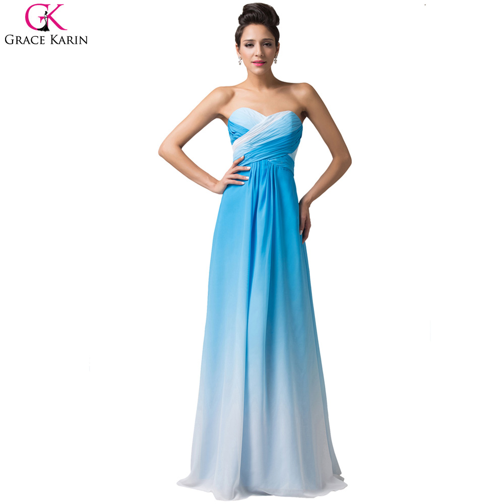 Grace Karin Dresses Ombre Evening Dresses A Line Long Blue Rose ...