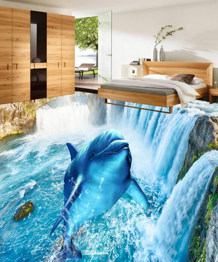 Custom photo waterfall dolphin 3d floor wallpaper pvc for Floor 3d wallpaper