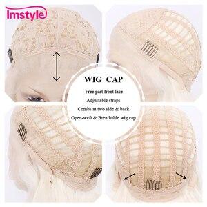 Image 5 - Imstyle בלונד סינטטי תחרה מול פאה ארוך גלי פאות עבור נשים חום סיבים עמידים טבעי קו שיער תחרה פאת פאת קוספליי