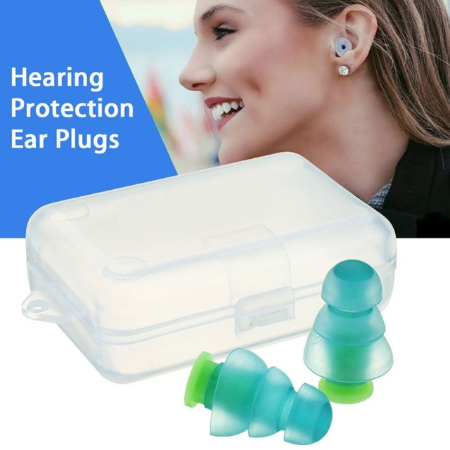 1 Pair Reusable Noise Cancelling Soft Silicone Earplugs Sound Insulation Hearing Protection Ear plugs for Music Party #288344