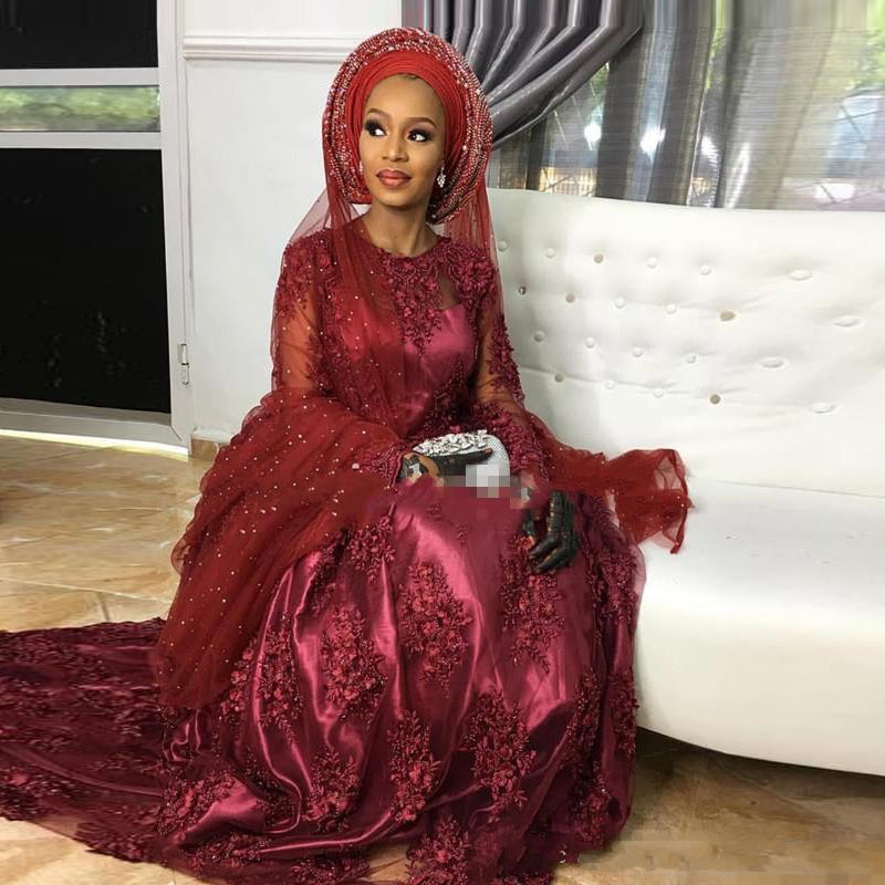 Nigéria femmes robes de soirée une ligne bijou Illusion dentelle corsage robes de soirée robe pour fête bourgogne formelle robe manches perles