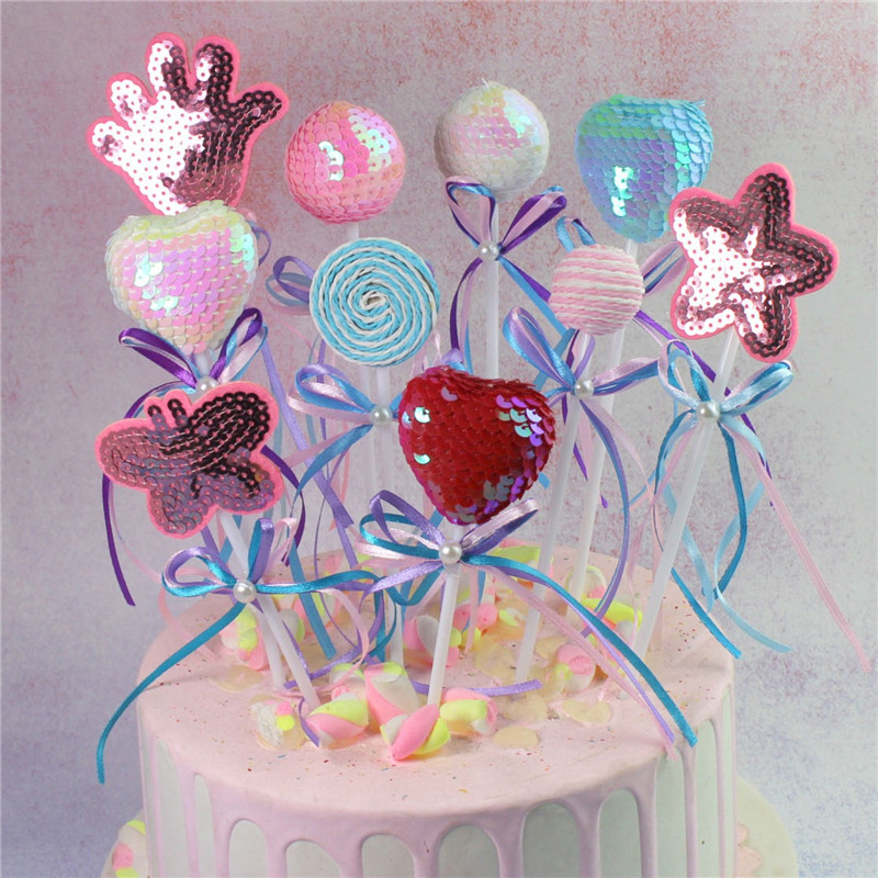 Festive & Party Supplies Friendly 4cm Lollipop Cake,cupcake Cake Topper Flag Baking Decoration,happy Birthday,wedding Party,baby Shower,embellishment Kids Toys