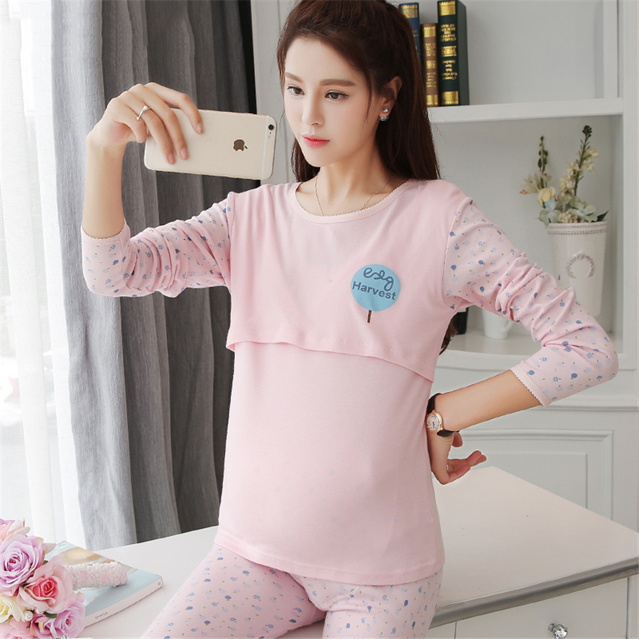 Cotton maternity sleepwear for feeding clothes long sleeve home cotton maternity sleepwear for feeding clothes long sleeve home wear women luxury maternity clothes autumn winter 60m0045 in sleep lounge from mother ombrellifo Choice Image
