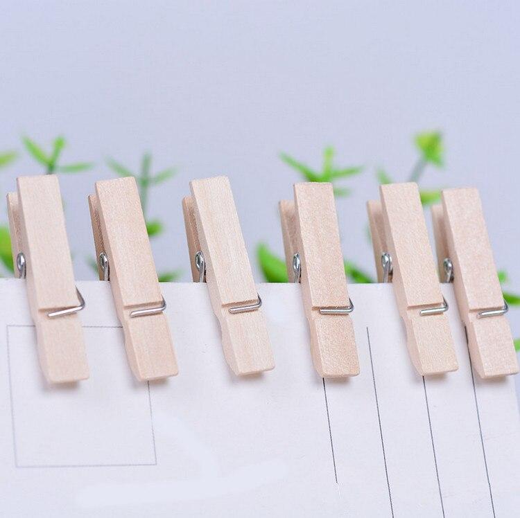 6000 Pcs 25MM Useful Mini Wooden Clothes Photo Paper Peg Clothespin Craft DIY Clips