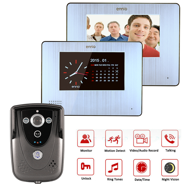Wired 7 inch Touch Screen Video Door Phone 2 Indoor Monitors Video Doorbell+1 IR Night Vision Camera Max To Support 32G SD Card