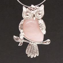 Kraft-beads Silver Plated Natural Rose Pink Quartz Owl Shape Pendant Statement Jewelry