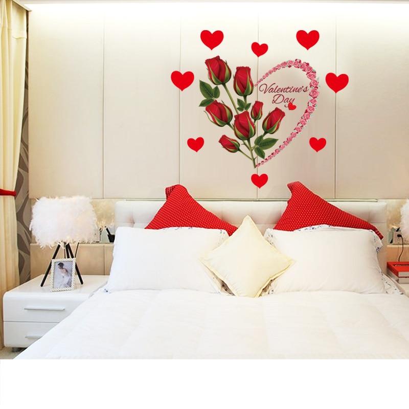 autocollants muraux roses rouges romantiques amovibles en forme de cœur decoration de chambre a coucher de mariage decoration de porte fenetre de