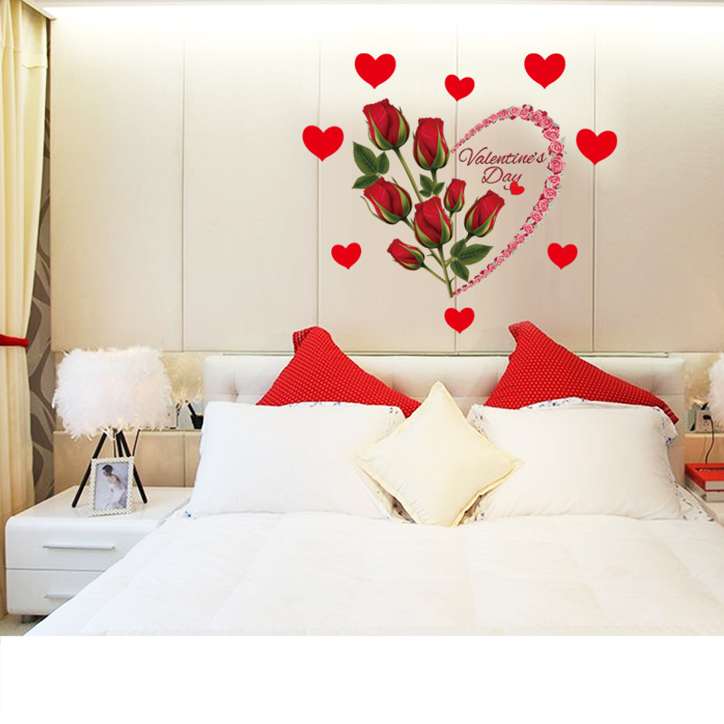 Bedroom Door Curtain Bedroom Wall Decoration Ideas Pinterest Bedroom Paint Colors Images Bedroom Design Kerala Style: Removable Romantic Love Red Roses Wall Sticker Flwers