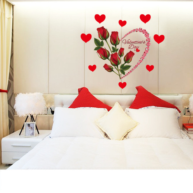 Removable Romantic Love Red Roses Wall Sticker Flwers Heart Shaped Wedding Bedroom  Decoration Window Door