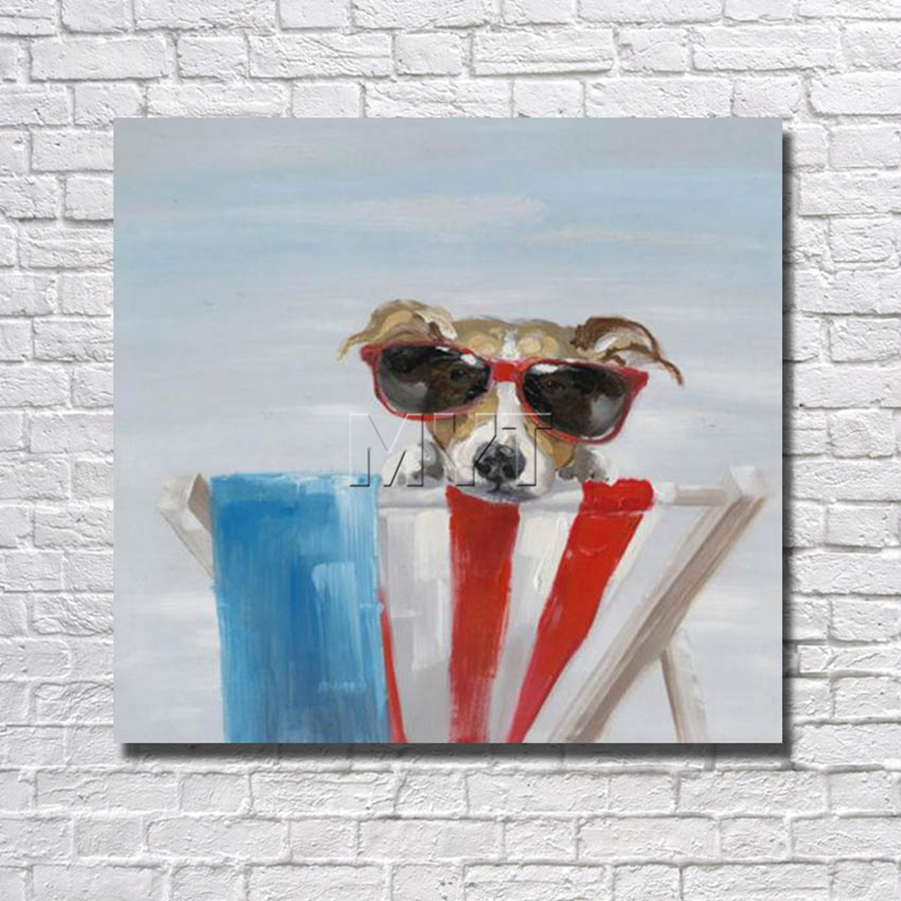 New Photos Funny Wholesale for Sale Glasses Dog Home Decor Bedroom Decor With Framed Painting Ready to Hang Artwork Painting