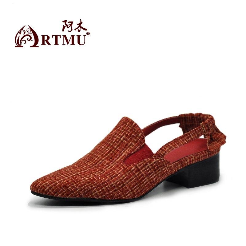 Femmes 5y Vintage red D'origine Main La Bout Mode Chaussures Artmu Black Tissu Pointu Britannique White Sandales À 1807 wEIxwq6