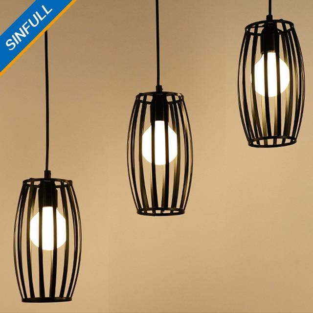 Vintage loft kooi woonkamer hanglampen zwart ijzer antieke ...