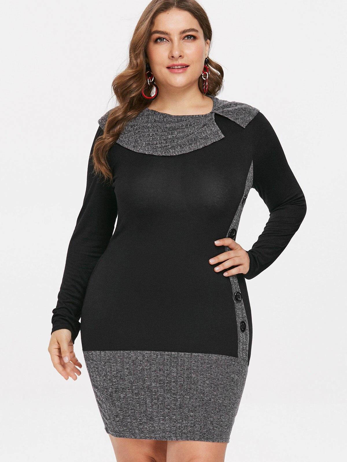 Wipalo Plus Size 5XL Fashion Long Sleeve Ladies Button Embellished Sheath  Dress Casual Knee Length Bodycon Dress Robe Femme Summer White Maxi Dress  ...