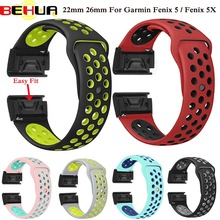 22 26mm Silicone Watch Band Easy Quick Fit Strap for Garmin Fenix 3 3 HR/Fenix 5X/Fenix 5X Plus/S60/D2/MK1/Fenix 5/Fenix 5 Plus