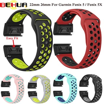 22 26mm Silicone Watch Band Easy Quick Fit Strap for Garmin Fenix 3 3 HR/Fenix 5X/Fenix 5X Plus/S60/D2/MK1/Fenix 5/Fenix 5 Plus fenix сельские жители