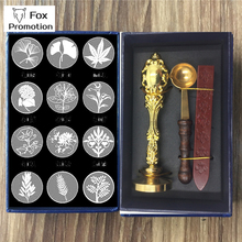 Natural tree Plant wax seal Gift Box copper stamp metal handle spoon,league DIY gift ancient seal stamp set,vintage high quality