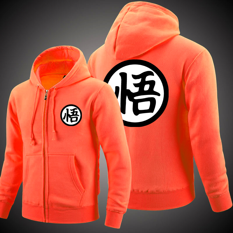 MIDUO 2018 Anime Cosplay Dragon Ball Z Sun Wukong Sun Goku Winter Coat Casual Clothes Cashmere Sweatshirts Zipper Hoodie Fleece